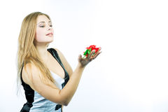 Sensual sexy blond girl with gentle fower Royalty Free Stock Photos