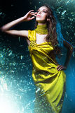 Sensual sexy woman in green dress Royalty Free Stock Images