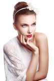 Sensual woman with red beautiful lips royalty free stock image
