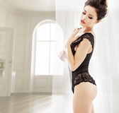 Sensual slim brunette wearing a lace lingerie Royalty Free Stock Photo