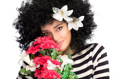 Sensual Spring Beauty. Beautiful Young Woman with a Bouquet of Seasonal Blooms Royalty Free Stock Photography