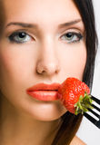 Sensual strawberry dessert. Royalty Free Stock Images