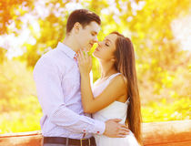 Sensual sweet couple kissing summer Royalty Free Stock Photography