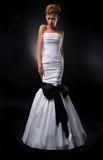 Sensual terrific bride in white wedding dress Royalty Free Stock Image