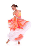 Sensual waltz dancer pulling up  dress Stock Photo