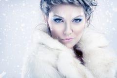 Sensual winter woman Stock Photos