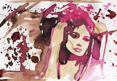 Sensual woman. Watercolor portrait of a sensual woman Royalty Free Stock Images