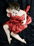 Sensual woman. Blonde girl with red silk that seeks the pleasure Royalty Free Stock Photos