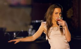 Sensual Woman Sipping Wine stock images