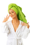 Sensual woman in bathrobe Royalty Free Stock Photos