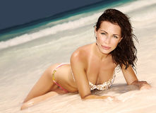 Sensual woman on the beach Royalty Free Stock Photos