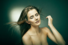 Sensual woman with beautiful long brown hairs Royalty Free Stock Photo