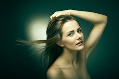 Sensual woman with beautiful long brown hairs Stock Photo