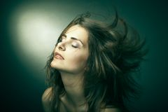 Sensual woman with beautiful long brown hairs Stock Image