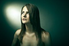 Sensual woman with beautiful long brown hairs Royalty Free Stock Images