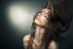Sensual woman with beautiful long brown hairs Royalty Free Stock Photography