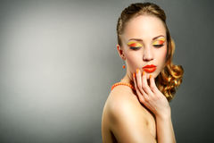 Sensual woman with beautiful make-up Stock Photos