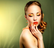 Sensual woman with beautiful make-up Stock Images