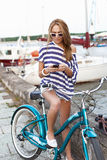 Sensual woman with bicycle Royalty Free Stock Photos