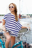 Sensual woman with bicycle Royalty Free Stock Photo