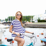 Sensual woman with bicycle Stock Photo