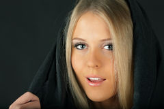 Sensual woman in black fabric Royalty Free Stock Photo