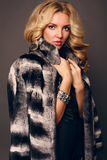 Sensual woman with blond curly hair wearing luxurious fur coat Royalty Free Stock Photo