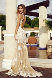 Sensual woman with blond hair in luxurious lace dress Stock Photos