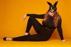 Sensual woman in bunny mask sitting on the floor in sexy pose. Closeup of sensual woman in bunny mask sitting on the floor in sexy pose Royalty Free Stock Image