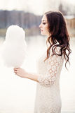Sensual Woman with Candy Floss. Brunette Model Outdoors Stock Photos