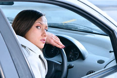 Sensual woman in car Stock Photography