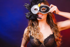 Sensual woman with carnival mask. Royalty Free Stock Photography