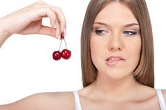 Sensual woman with cherry Stock Image