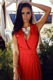 Sensual woman with dark hair in elegant red dress with bijou Stock Image