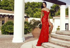 Sensual woman with dark hair in luxurious lace red dress Royalty Free Stock Image