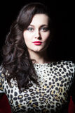 Sensual woman in the dress with leopard print Stock Photos