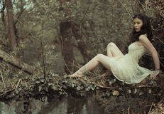 Sensual Woman in Dress Posing at the Woods Stock Photo