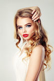 Sensual Woman Fashion Model. Blonde Hairstyle. Makeup Stock Images
