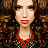 Sensual Woman. Fashion Portrait of Curly Hair Girl Fashion Model Stock Photo