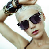 sensual woman in fashionable glasses Royalty Free Stock Image