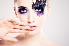 Sensual Woman. Female Face Closeup Royalty Free Stock Images
