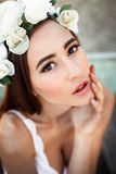 Sensual woman in floral wreath Stock Images
