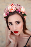 Sensual woman in floral wreath Royalty Free Stock Image