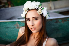 Sensual woman in floral wreath Stock Image