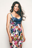 Sensual woman in flower print dress Stock Images