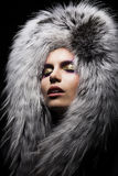 Sensual woman in fur fashion collar Stock Photos