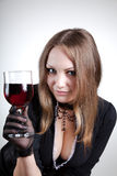 Sensual woman with glass of wine Royalty Free Stock Photography