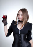 Sensual woman with glass of wine Royalty Free Stock Photos