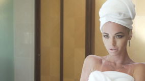 Sensual woman in her bathroom stock footage