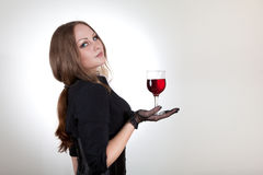 Sensual woman holding glass of wine Royalty Free Stock Photo